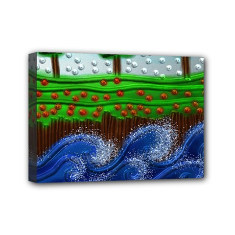 Beaded Landscape Textured Abstract Landscape With Sea Waves In The Foreground And Trees In The Background Mini Canvas 7  x 5