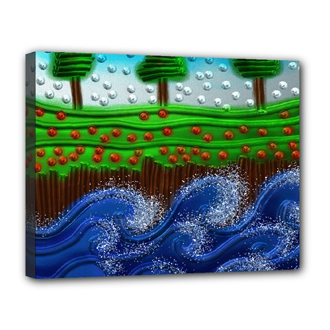 Beaded Landscape Textured Abstract Landscape With Sea Waves In The Foreground And Trees In The Background Canvas 14  x 11