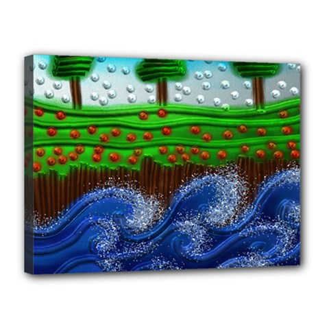Beaded Landscape Textured Abstract Landscape With Sea Waves In The Foreground And Trees In The Background Canvas 16  X 12