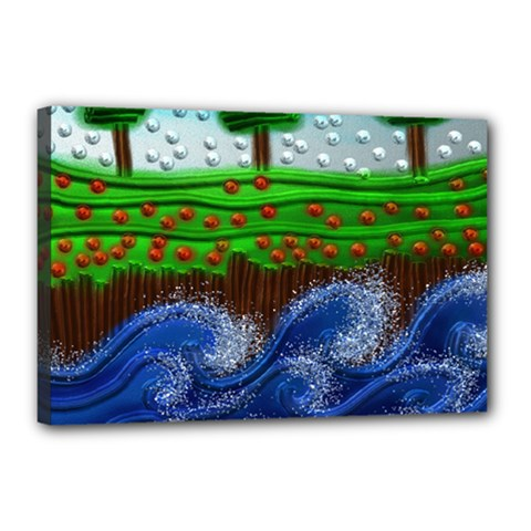 Beaded Landscape Textured Abstract Landscape With Sea Waves In The Foreground And Trees In The Background Canvas 18  x 12