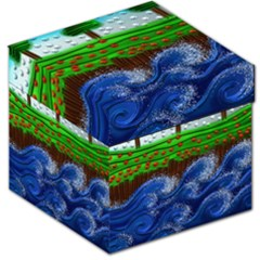 Beaded Landscape Textured Abstract Landscape With Sea Waves In The Foreground And Trees In The Background Storage Stool 12
