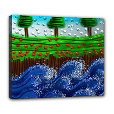Beaded Landscape Textured Abstract Landscape With Sea Waves In The Foreground And Trees In The Background Deluxe Canvas 24  x 20