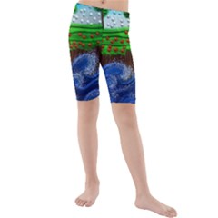 Beaded Landscape Textured Abstract Landscape With Sea Waves In The Foreground And Trees In The Background Kids  Mid Length Swim Shorts