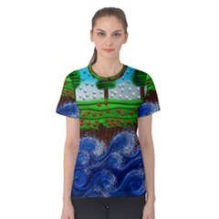 Beaded Landscape Textured Abstract Landscape With Sea Waves In The Foreground And Trees In The Background Women s Cotton Tee