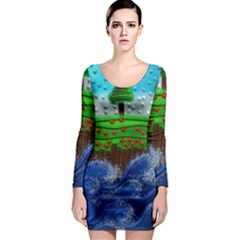 Beaded Landscape Textured Abstract Landscape With Sea Waves In The Foreground And Trees In The Background Long Sleeve Bodycon Dress