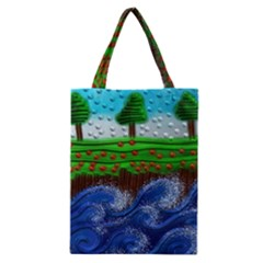 Beaded Landscape Textured Abstract Landscape With Sea Waves In The Foreground And Trees In The Background Classic Tote Bag