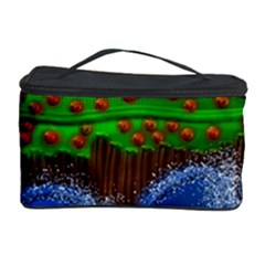 Beaded Landscape Textured Abstract Landscape With Sea Waves In The Foreground And Trees In The Background Cosmetic Storage Case
