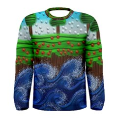 Beaded Landscape Textured Abstract Landscape With Sea Waves In The Foreground And Trees In The Background Men s Long Sleeve Tee