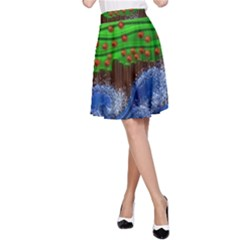 Beaded Landscape Textured Abstract Landscape With Sea Waves In The Foreground And Trees In The Background A Line Skirt