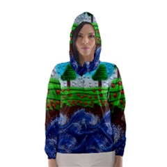 Beaded Landscape Textured Abstract Landscape With Sea Waves In The Foreground And Trees In The Background Hooded Wind Breaker (Women)