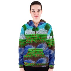 Beaded Landscape Textured Abstract Landscape With Sea Waves In The Foreground And Trees In The Background Women s Zipper Hoodie
