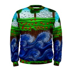 Beaded Landscape Textured Abstract Landscape With Sea Waves In The Foreground And Trees In The Background Men s Sweatshirt