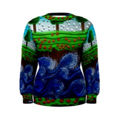 Beaded Landscape Textured Abstract Landscape With Sea Waves In The Foreground And Trees In The Background Women s Sweatshirt