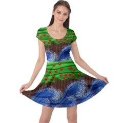 Beaded Landscape Textured Abstract Landscape With Sea Waves In The Foreground And Trees In The Background Cap Sleeve Dresses