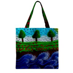 Beaded Landscape Textured Abstract Landscape With Sea Waves In The Foreground And Trees In The Background Zipper Grocery Tote Bag