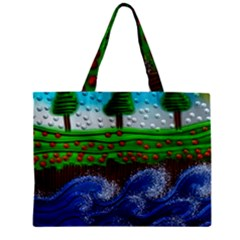 Beaded Landscape Textured Abstract Landscape With Sea Waves In The Foreground And Trees In The Background Zipper Mini Tote Bag