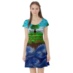 Beaded Landscape Textured Abstract Landscape With Sea Waves In The Foreground And Trees In The Background Short Sleeve Skater Dress