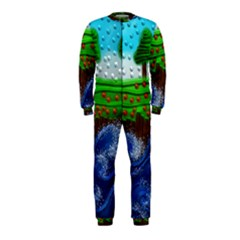Beaded Landscape Textured Abstract Landscape With Sea Waves In The Foreground And Trees In The Background OnePiece Jumpsuit (Kids)