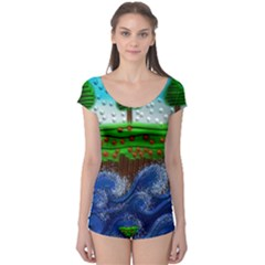 Beaded Landscape Textured Abstract Landscape With Sea Waves In The Foreground And Trees In The Background Boyleg Leotard