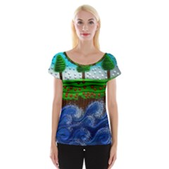 Beaded Landscape Textured Abstract Landscape With Sea Waves In The Foreground And Trees In The Background Women s Cap Sleeve Top