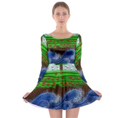Beaded Landscape Textured Abstract Landscape With Sea Waves In The Foreground And Trees In The Background Long Sleeve Skater Dress