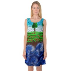 Beaded Landscape Textured Abstract Landscape With Sea Waves In The Foreground And Trees In The Background Sleeveless Satin Nightdress