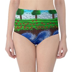 Beaded Landscape Textured Abstract Landscape With Sea Waves In The Foreground And Trees In The Background High Waist Bikini Bottoms