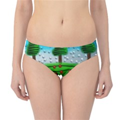 Beaded Landscape Textured Abstract Landscape With Sea Waves In The Foreground And Trees In The Background Hipster Bikini Bottoms