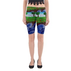 Beaded Landscape Textured Abstract Landscape With Sea Waves In The Foreground And Trees In The Background Yoga Cropped Leggings