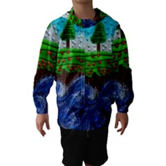 Beaded Landscape Textured Abstract Landscape With Sea Waves In The Foreground And Trees In The Background Hooded Wind Breaker (Kids)