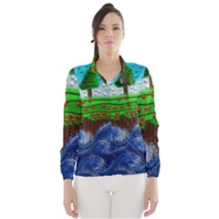 Beaded Landscape Textured Abstract Landscape With Sea Waves In The Foreground And Trees In The Background Wind Breaker (women)