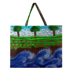 Beaded Landscape Textured Abstract Landscape With Sea Waves In The Foreground And Trees In The Background Zipper Large Tote Bag