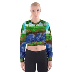 Beaded Landscape Textured Abstract Landscape With Sea Waves In The Foreground And Trees In The Background Cropped Sweatshirt