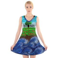 Beaded Landscape Textured Abstract Landscape With Sea Waves In The Foreground And Trees In The Background V Neck Sleeveless Skater Dress