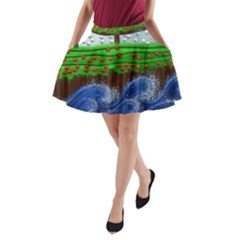 Beaded Landscape Textured Abstract Landscape With Sea Waves In The Foreground And Trees In The Background A Line Pocket Skirt