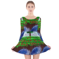 Beaded Landscape Textured Abstract Landscape With Sea Waves In The Foreground And Trees In The Background Long Sleeve Velvet Skater Dress
