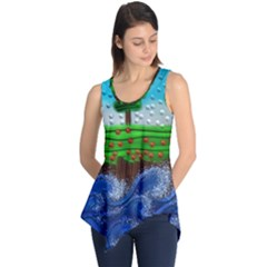Beaded Landscape Textured Abstract Landscape With Sea Waves In The Foreground And Trees In The Background Sleeveless Tunic