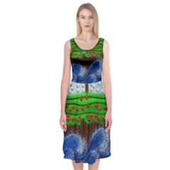 Beaded Landscape Textured Abstract Landscape With Sea Waves In The Foreground And Trees In The Background Midi Sleeveless Dress