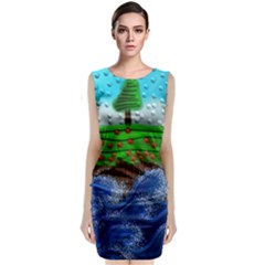Beaded Landscape Textured Abstract Landscape With Sea Waves In The Foreground And Trees In The Background Classic Sleeveless Midi Dress