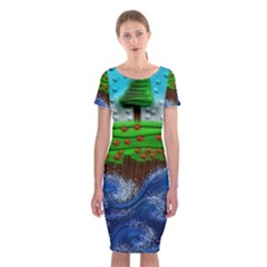 Beaded Landscape Textured Abstract Landscape With Sea Waves In The Foreground And Trees In The Background Classic Short Sleeve Midi Dress