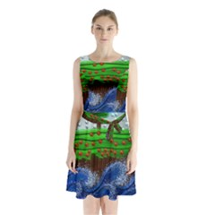 Beaded Landscape Textured Abstract Landscape With Sea Waves In The Foreground And Trees In The Background Sleeveless Chiffon Waist Tie Dress
