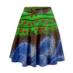 Beaded Landscape Textured Abstract Landscape With Sea Waves In The Foreground And Trees In The Background High Waist Skirt