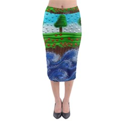 Beaded Landscape Textured Abstract Landscape With Sea Waves In The Foreground And Trees In The Background Midi Pencil Skirt