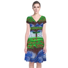 Beaded Landscape Textured Abstract Landscape With Sea Waves In The Foreground And Trees In The Background Short Sleeve Front Wrap Dress