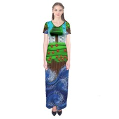 Beaded Landscape Textured Abstract Landscape With Sea Waves In The Foreground And Trees In The Background Short Sleeve Maxi Dress