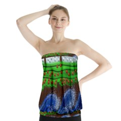 Beaded Landscape Textured Abstract Landscape With Sea Waves In The Foreground And Trees In The Background Strapless Top