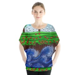 Beaded Landscape Textured Abstract Landscape With Sea Waves In The Foreground And Trees In The Background Blouse