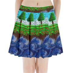 Beaded Landscape Textured Abstract Landscape With Sea Waves In The Foreground And Trees In The Background Pleated Mini Skirt