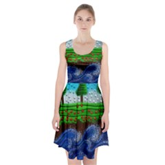Beaded Landscape Textured Abstract Landscape With Sea Waves In The Foreground And Trees In The Background Racerback Midi Dress