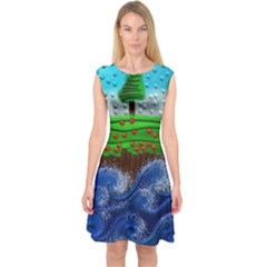 Beaded Landscape Textured Abstract Landscape With Sea Waves In The Foreground And Trees In The Background Capsleeve Midi Dress